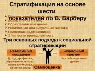 Стратификация на основе шести показателей по Б. Барберу Престиж, профессия, в