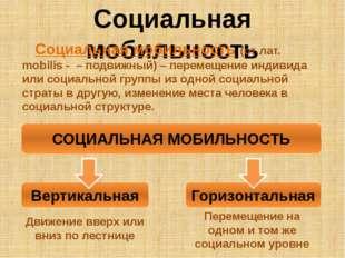Социальная мобильность Социальная мобильность (от лат. mobilis - – подвижный)