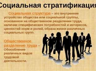 Социальная стратификация Социальная структура – это внутреннее устройство общ