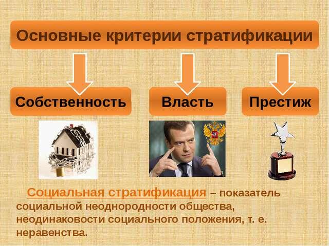 Основные критерии стратификации Собственность Престиж Власть Социальная страт...