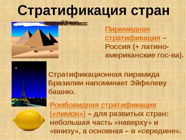 Стратификация стран Пирамидная стратификация – Россия (+ латино- американские...