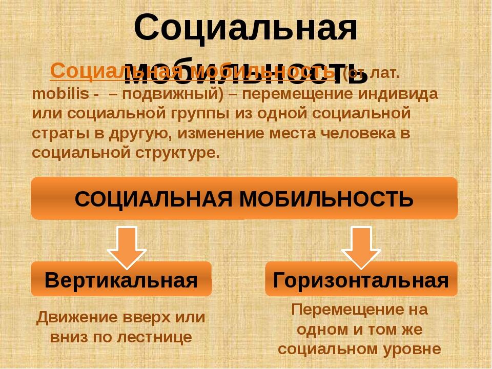 Социальная мобильность Социальная мобильность (от лат. mobilis - – подвижный)...