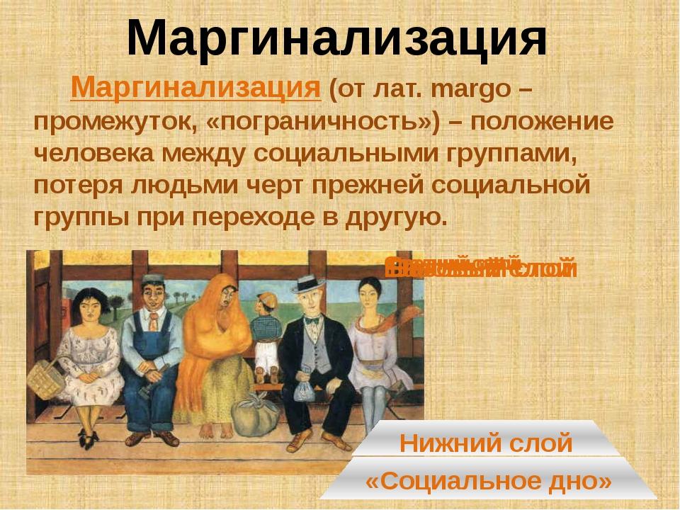 Маргинализация Маргинализация (от лат. margo – промежуток, «пограничность») –...