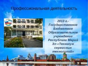 Профессиональная деятельность 2013 г.-Государственное Бюджетное Образовательн