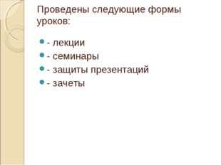 Проведены следующие формы уроков: - лекции - семинары - защиты презентаций -