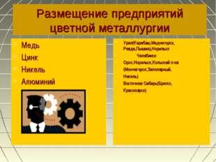Размещение предприятий цветной металлургии Медь Цинк Никель Алюминий Урал(Кар
