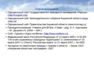 Список источников: Официальный сайт Государственного природного заповедника «
