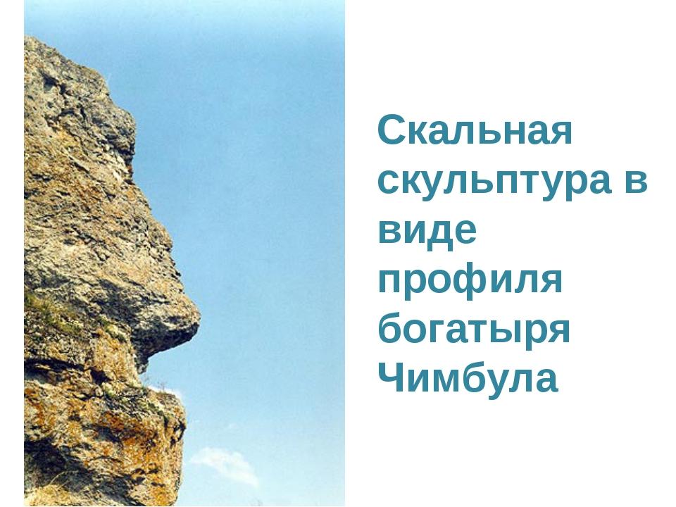Скальная скульптура в виде профиля богатыря Чимбула