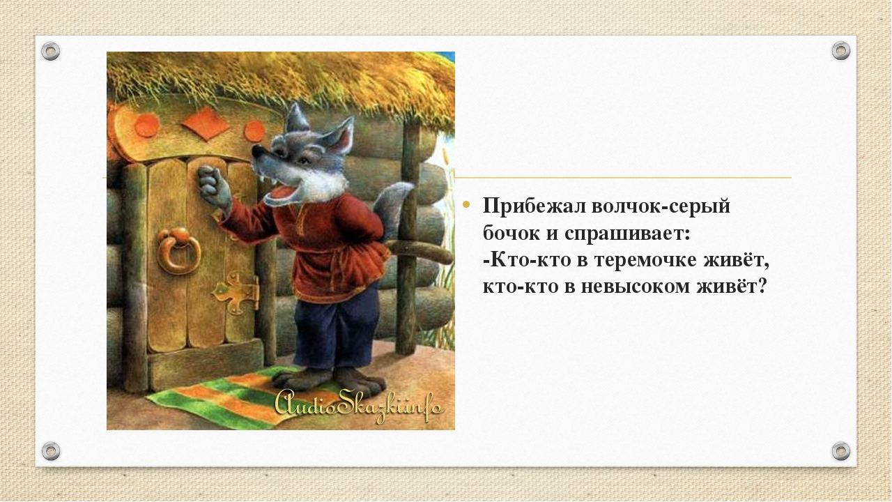 Прибежал волчок-серый бочок и спрашивает: -Кто-кто в теремочке живёт, кто-кт...