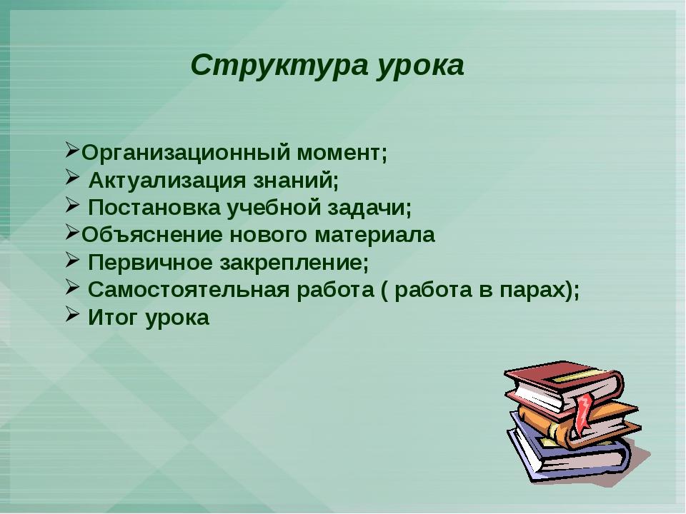 Структура урока Организационный момент; Актуализация знаний; Постановка учеб...