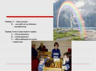 Пример: А – «идет дождь», В – «на небе нет ни облачка» – несовместные. Приме
