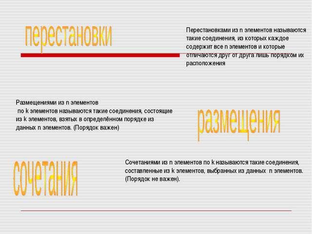 Перестановками из n элементов называются такие соединения, из которых каждое...