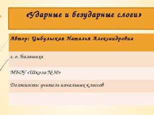 «Ударные и безударные слоги» Автор: Цыбульская Наталья Александровна г. о. Ба