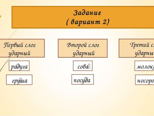 Задание ( вариант 2) Первый слог ударный Второй слог ударный Третий слог удар...