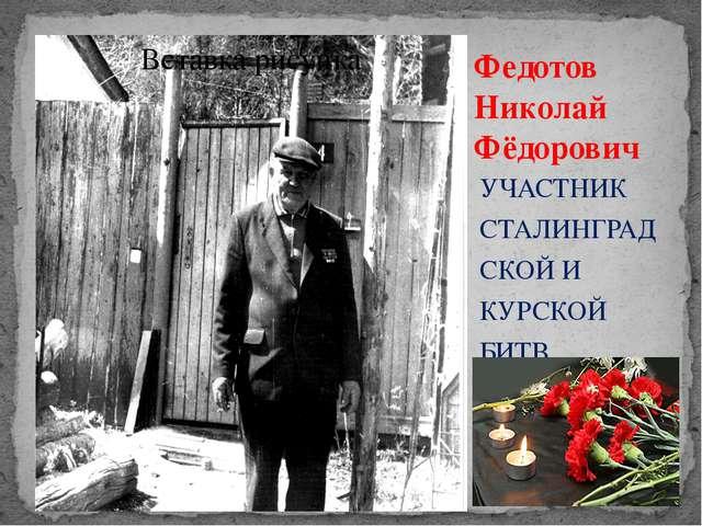 Федотов Николай Фёдорович УЧАСТНИК СТАЛИНГРАДСКОЙ И КУРСКОЙ БИТВ