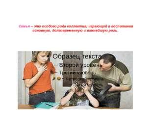 Семья – это особого рода коллектив, играющий в воспитании основную, долговрем