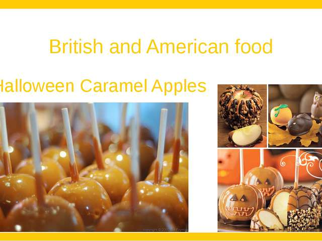British and American food Halloween Caramel Apples