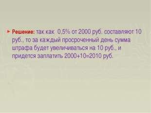 Решение: так как 0,5% от 2000 руб. составляют 10 руб., то за каждый просрочен
