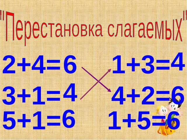 2+4= 1+3= 3+1= 4+2= 5+1= 6 6 4 4 6 1+5=6