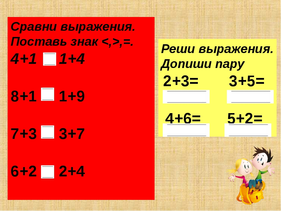 Сравни выражения. Поставь знак ,=. 4+1 1+4 8+1 1+9 7+3 3+7 6+2 2+4 Реши выраж...