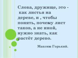 Слова, дружище, это - как листья на дереве, и , чтобы понять, почему лист так