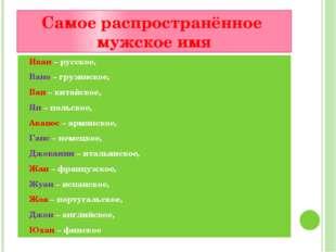 Самое распространённое мужское имя Иван – русское, Вано – грузинское, Ван – к