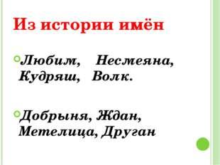 Из истории имён Любим, Несмеяна, Кудряш, Волк. Добрыня, Ждан, Метелица, Друган