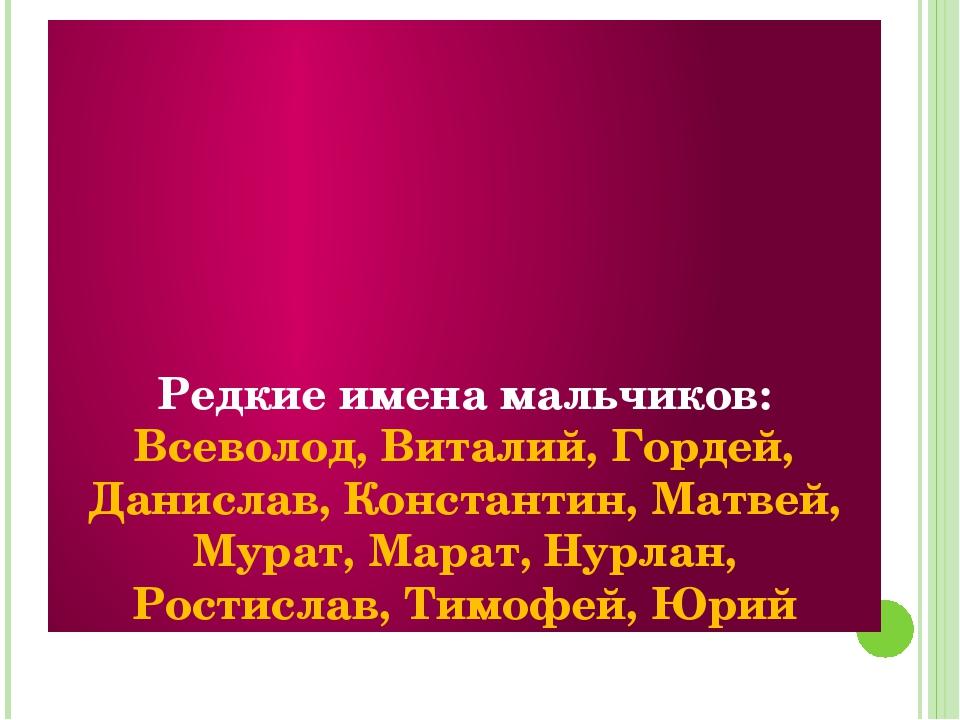 Редкие имена мальчиков: Всеволод, Виталий, Гордей, Данислав, Константин, Мат...