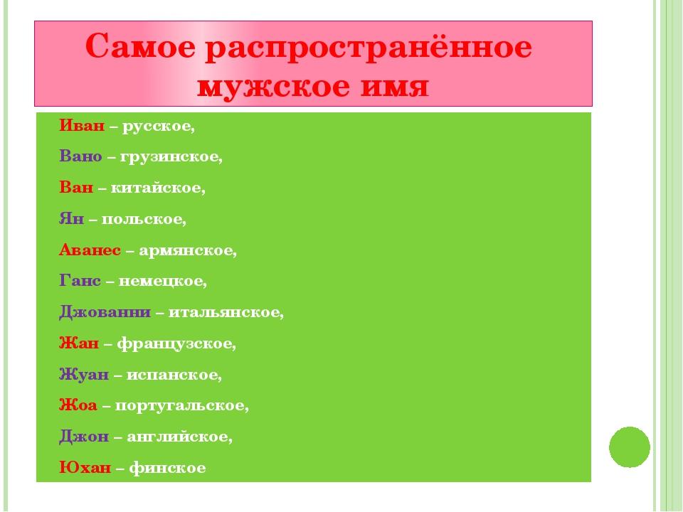 Самое распространённое мужское имя Иван – русское, Вано – грузинское, Ван – к...