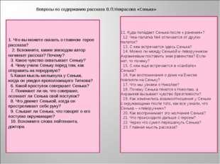 Вопросы по содержанию рассказа В.П.Некрасова «Сенька» 1. Что вы можете сказат