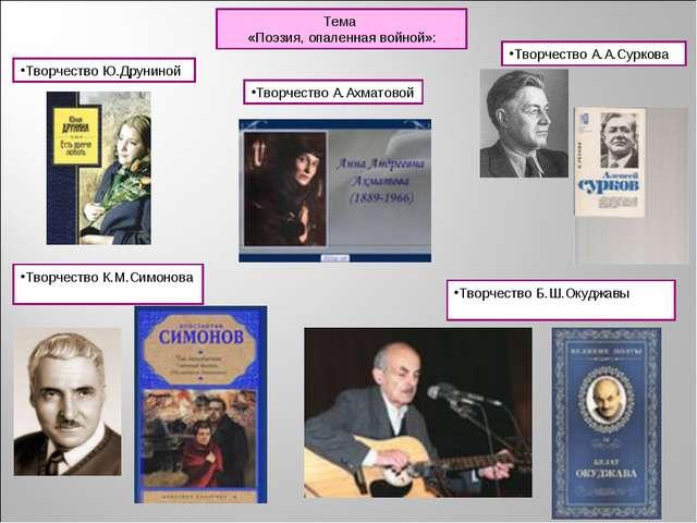 Тема «Поэзия, опаленная войной»: Творчество Ю.Друниной Творчество А.Ахматовой...