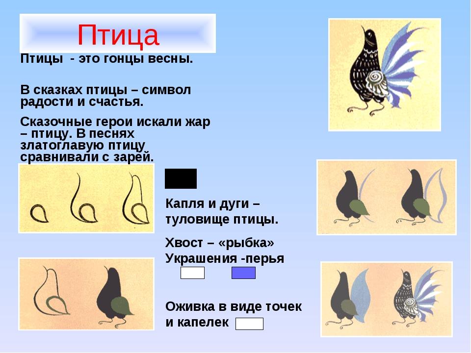 Птица Птицы - это гонцы весны. В сказках птицы – символ радости и счастья. Ск...