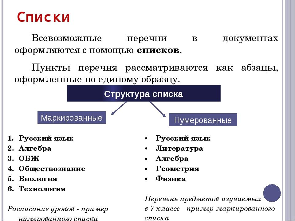 По структуре различают одноуровневые и многоуровневые списки . Список, элемен...