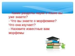 - Какие разделы науки о языке вы уже знаете? - Что вы знаете о морфемике? Чт