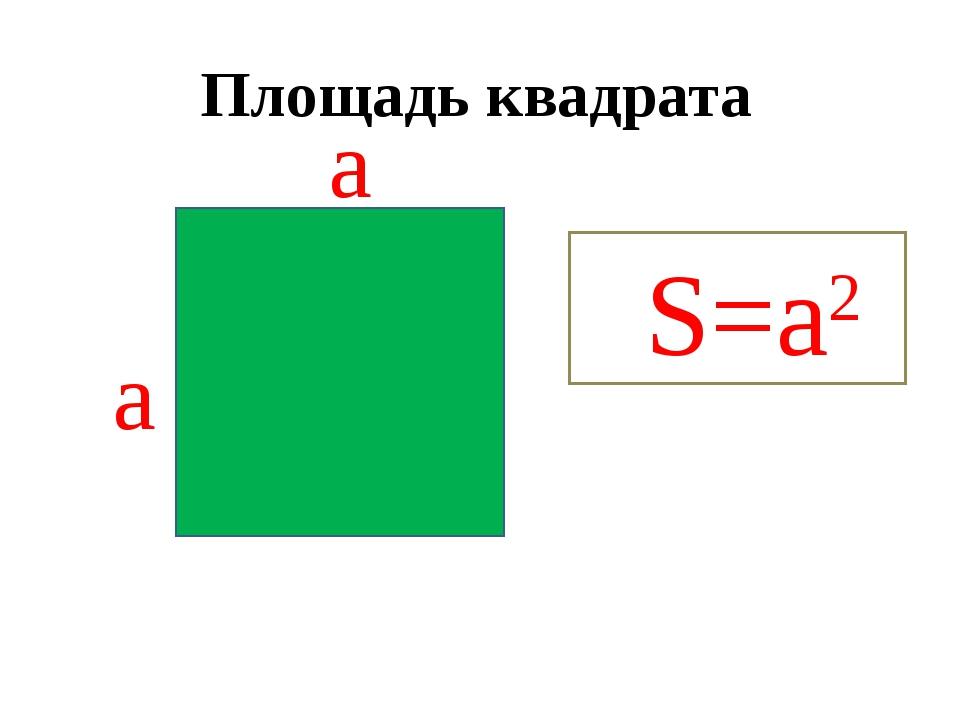Площадь квадрата S=a2 а а