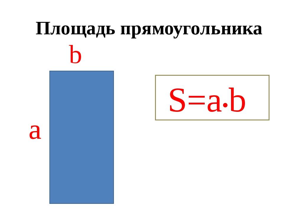 Площадь прямоугольника S=a•b а b