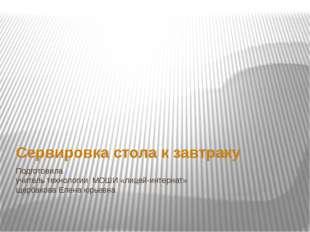 Подготовила учитель технологии МОШИ «лицей-интернат» щербакова Елена юрьевна