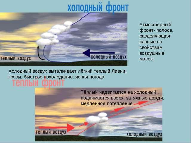 Атмосферный фронт- полоса, разделяющая разные по свойствам воздушные массы Х...