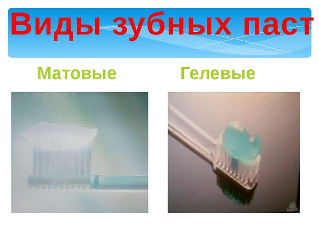 Виды зубных паст Матовые Гелевые