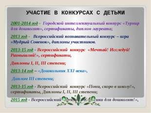 2001-2014 год - Городской интеллектуальный конкурс «Турнир для дошколят», сер