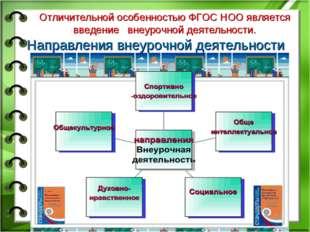 Направления внеурочной деятельности Отличительной особенностью ФГОС НОО являе