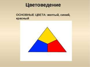 Цветоведение ОСНОВНЫЕ ЦВЕТА: желтый, синий, красный
