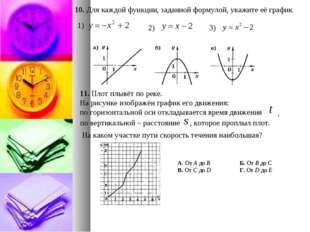 10. Для каждой функции, заданной формулой, укажите её график. 11. Плот плывёт