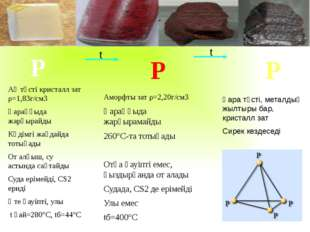 Р Р Р Ақ түсті кристалл зат ρ=1,83г/см3 Қараңғыда жарқырайды Кәдімгі жағдайд
