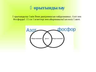 Қорытындылау Қорытындылау үшін Венн диаграммасын пайдаланамыз. Азот пен Фосф