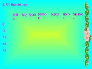 2. Сәйкесін тап NH3 N2 NO2 NH4OH N2O3 HNO3 NH4NO3 0 -3 +5 +4 +3
