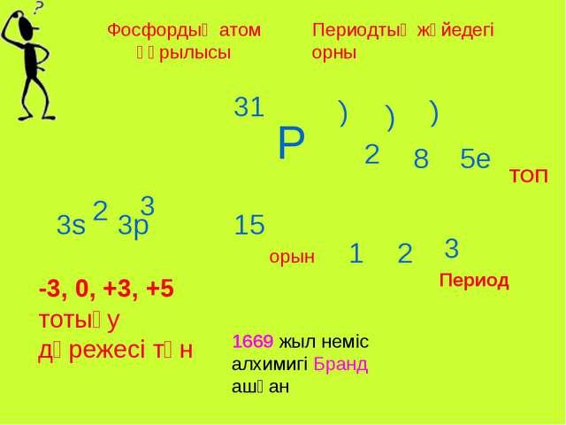 Фосфордың атом құрылысы Периодтық жүйедегі орны Р 15 31 ) 3 5е ТОП Период 3s...