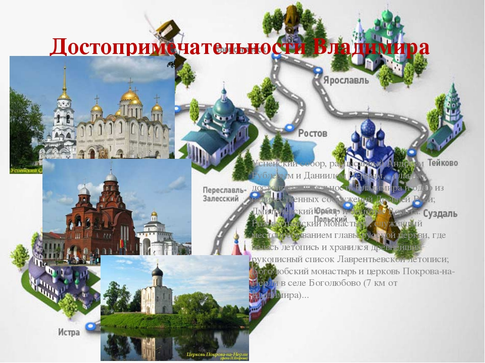 Достопримечательности Владимира Успенский собор, расписанный Андреем Рублевым...