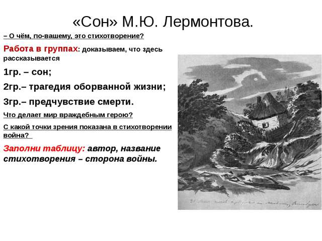 «Сон» М.Ю. Лермонтова. – О чём, по-вашему, это стихотворение? Работа в групп...
