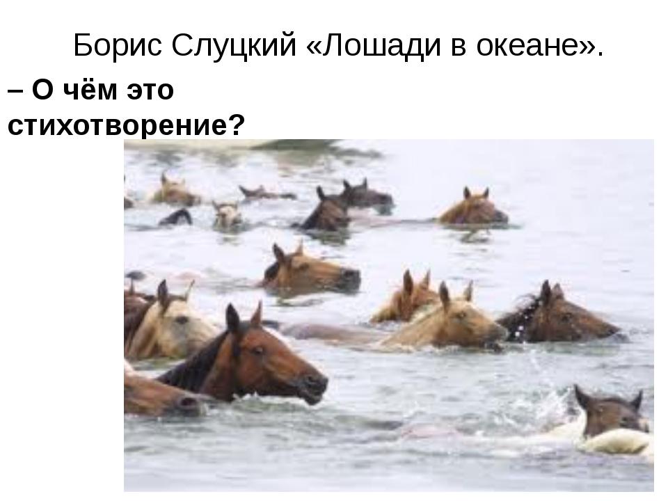 Борис Слуцкий «Лошади в океане». – О чём это стихотворение? – Какую сторону...